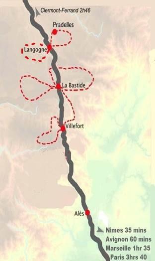 Walking Cevennes By Rail - Cevenol Map