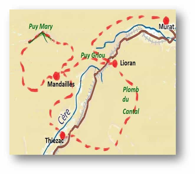 walking Cantal map