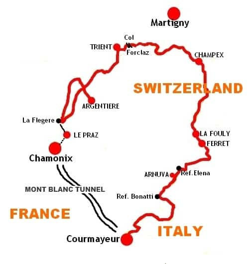 Walking Tour Mont Blanc Tmb Map