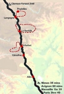 France On Foot And By Rail - Tour Map
