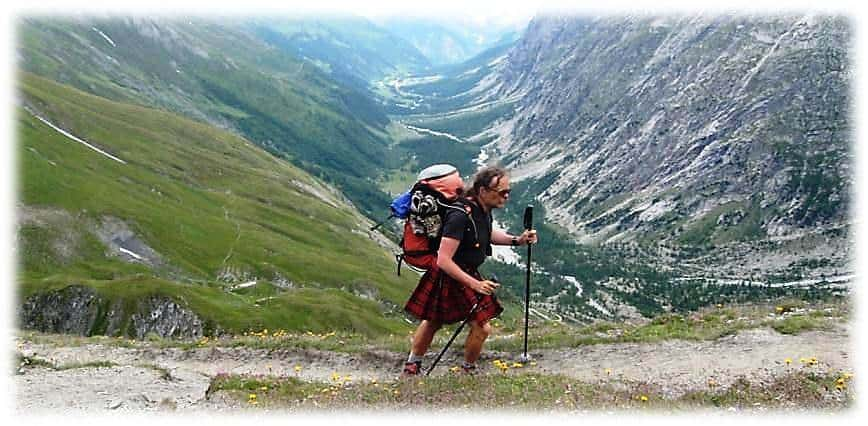 hiker in kilt - Le Grand Tournant - Description of walking the TMB - northern half