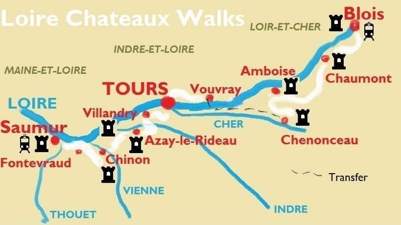Loire Chateaux Walks map