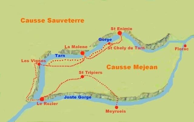 Tarn Gorges Walking Tour Map