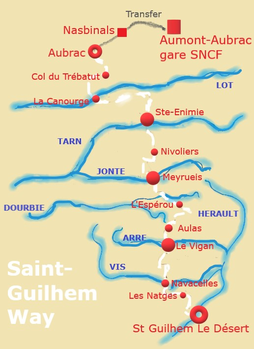 Saint Guilhem Way - Chemin De Saint-Guilhem Map
