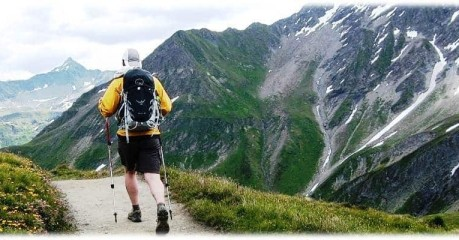 Walks in the Alps - hiker in Switzerland